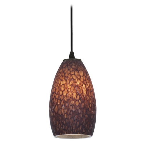 Access Lighting Modern Mini-Pendant Light with Brown Glass 28012-1C-ORB/BRST