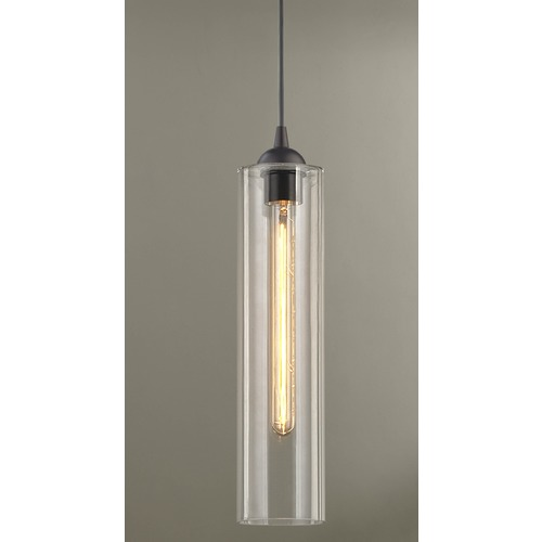Design Classics Lighting Bronze Pendant Light with Clear Glass 582-220 GL1640C