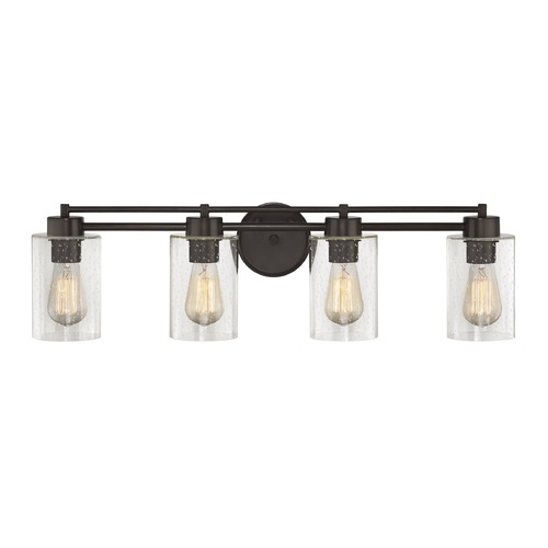 Design Classics Lighting Seeded Glass Bathroom Light Bronze 4 Lt 704-220 GL1041C