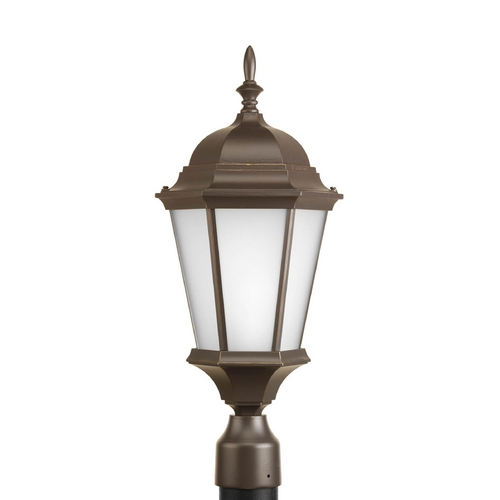 Progress Lighting Post Light with White Glass in Antique Bronze Finish P5482-20EB