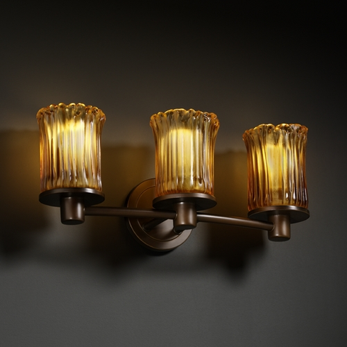 Justice Design Group Justice Design Group Veneto Luce Collection Bathroom Light GLA-8513-16-AMBR-DBRZ