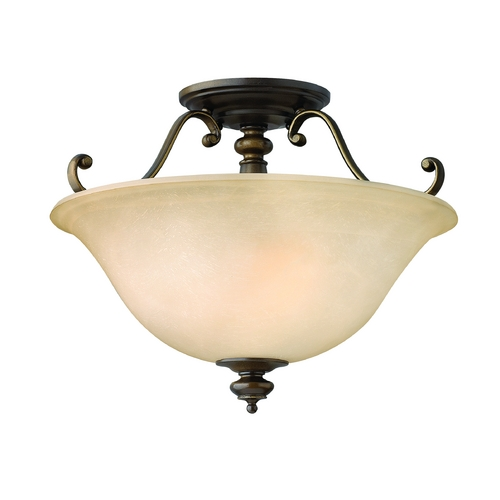 Hinkley Lighting Semi-Flushmount Light with Alabaster Glass in Royal Bronze Finish 4591RY