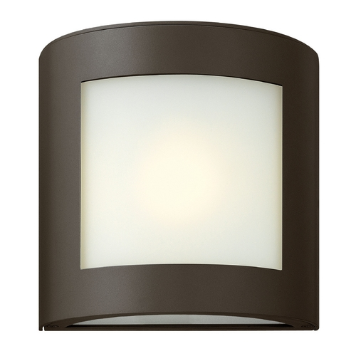 Hinkley Lighting Modern Outdoor Wall Light with White Glass in Bronze Finish 2020BZ-GU24