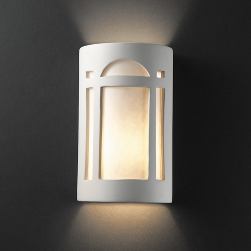 Justice Design Group Sconce Wall Light with White in Bisque Finish CER-5385-BIS