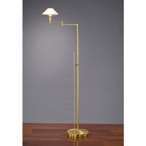 Holtkoetter Lighting Holtkoetter Modern Swing Arm Lamp with Alabaster Glass in Antique Brass Finish 9434 AB AWH