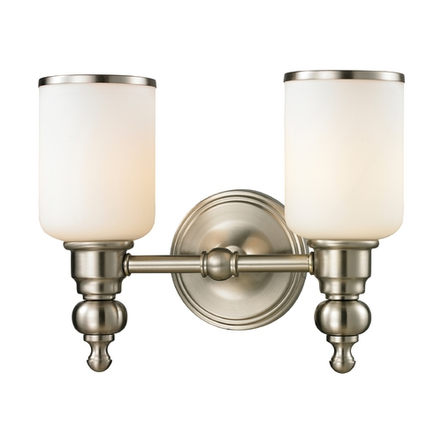 Elk Lighting LED Bathroom Light with White Glass in Brushed Nickel Finish 11581/2-LED
