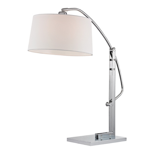 Dimond Lighting Modern Table Lamp with White Shades in Polished Nickel Finish D2470