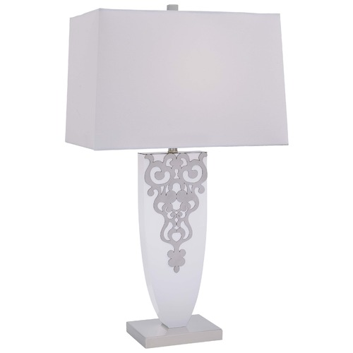Minka Lavery Minka Ambience Brushed Nickel & High Gloss White Table Lamp with Rectangle Shade 12421-0