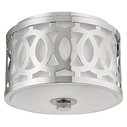 Hudson Valley Lighting Genesee 1 Light Flushmount Light Drum Shade - Polished Nickel 4310-PN
