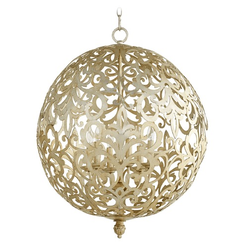 Quorum Lighting Quorum Lighting Le Monde Aged Silver Leaf Pendant Light 6192-6-60