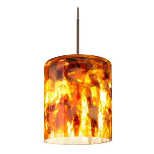 Besa Lighting Besa Lighting Falla Bronze Mini-Pendant Light with Cylindrical Shade 1XT-FALLCF-BR