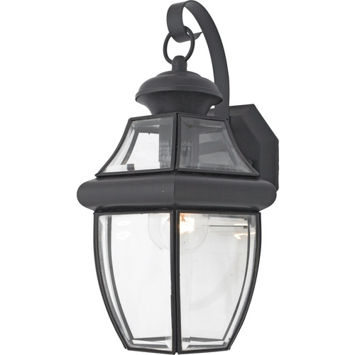 Quoizel Lighting Outdoor Wall Light with Clear Glass in Mystic Black Finish NY8316K