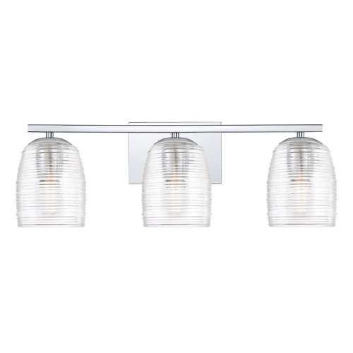 Quoizel Lighting Polished Chrome 3-Light Bathroom Light with Clear Shade RLM8603C