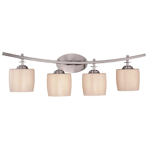 Minka Lavery Modern Bathroom Light with Beige / Cream Glass in Brushed Nickel Finish 6184-84