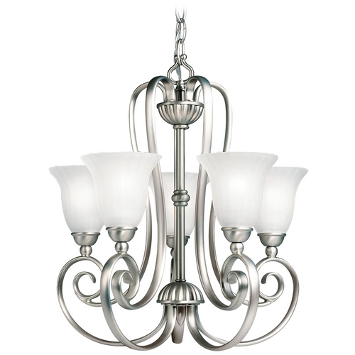 Kichler Lighting Kichler Chandelier with White Glass in Brushed Nickel Finish 1825NI