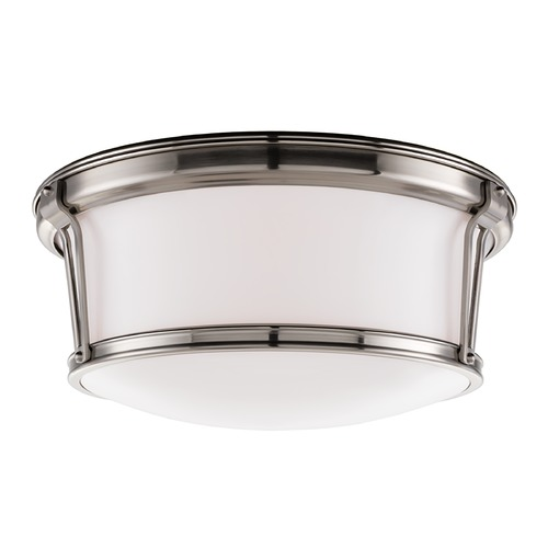 Hudson Valley Lighting Flushmount Light with White Glass in Satin Nickel Finish 6515-SN