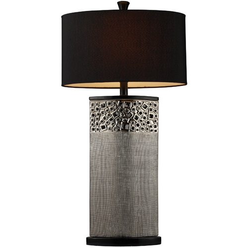 Elk Lighting Modern Table Lamp with Black Shade in Silver Plated Finish D1490