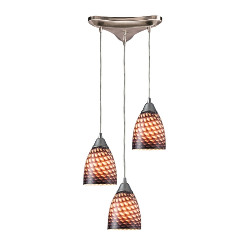 Elk Lighting Modern Multi-Light Pendant Light with Art Glass and 3-Lights 416-3C