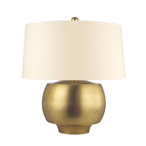 Hudson Valley Lighting Modern Table Lamp with Beige / Cream Paper Shade in Aged Brass Finish L164-AGB