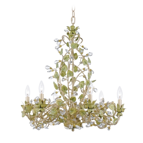Crystorama Lighting Crystal Chandelier in Champange Green Tea Finish 4846-CT