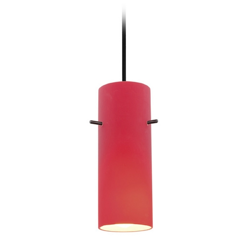 Access Lighting Access Lighting Tali Cylinder Oil Rubbed Bronze Mini-Pendant with Cylindrical Shade 28030-2C-ORB/RED