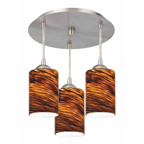 Design Classics Lighting 3-Light Semi-Flush Ceiling Light with Brown Art Glass - Nickel Finish 579-09 GL1023C
