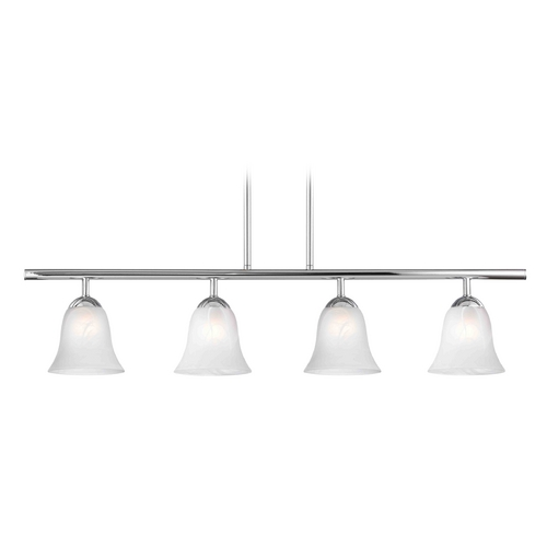Design Classics Lighting Modern Island Light with Alabaster Glass in Chrome Finish 718-26 GL9222-ALB