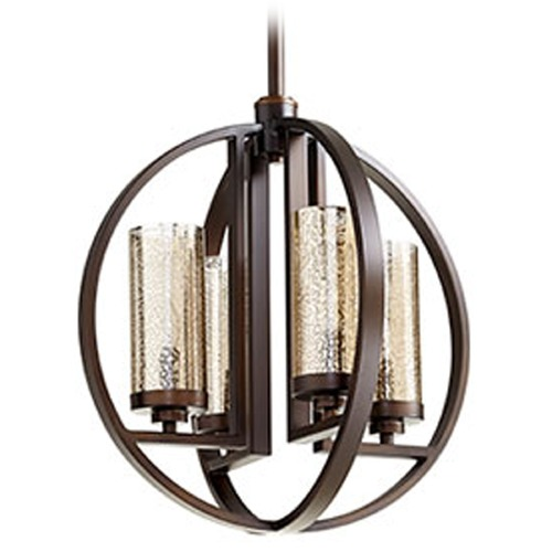 Quorum Lighting Oil Rubbed Bronze Orb Chandelier with Mercury Glass 603-4-86