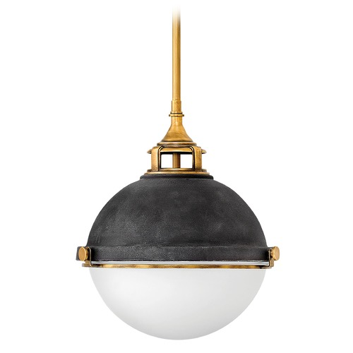 Hinkley Lighting Fletcher Aged Zinc Pendant Light with Bowl / Dome Shade 4834DZ