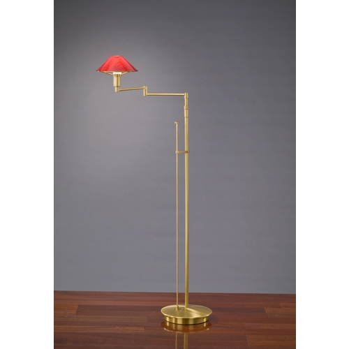 Holtkoetter Lighting Holtkoetter Modern Swing Arm Lamp with Red Glass in Antique Brass Finish 9434 AB MGR