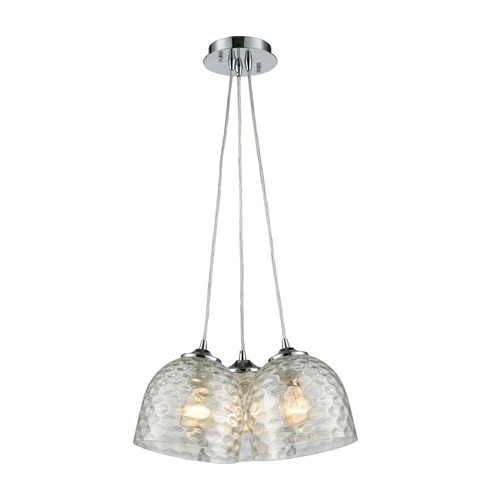 Elk Lighting Elk Lighting Viva Polished Chrome Multi-Light Pendant with Bowl / Dome Shade 31080/3SR-CLR