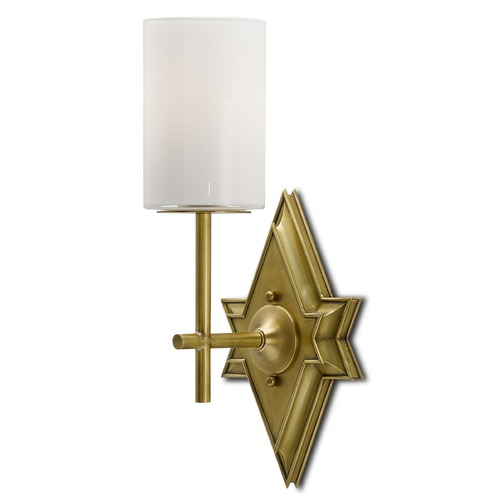 Currey and Company Lighting Currey and Company Fable Antique Brass/opaque Sconce 5000-0006