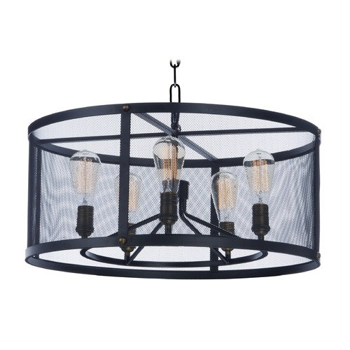 Maxim Lighting Maxim Lighting Palladium Black / Brass Pendant Light with Drum Shade 20114BKNAB/BUI