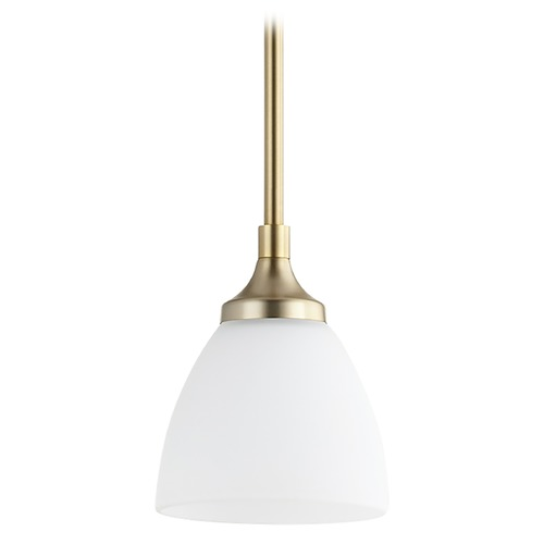 Quorum Lighting Quorum Lighting Enclave Aged Brass Mini-Pendant Light with Bowl / Dome Shade 3059-80