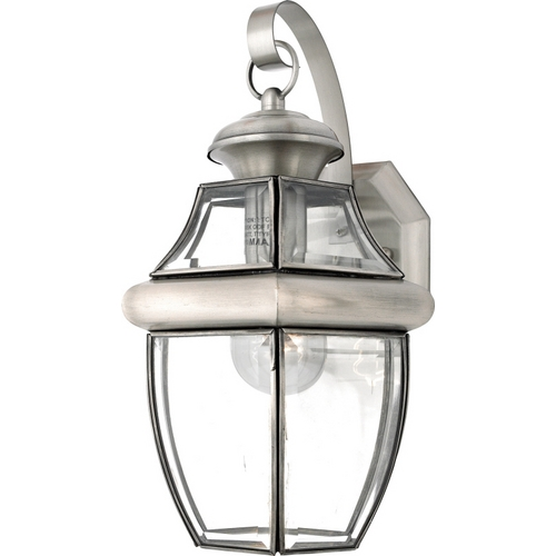 Quoizel Lighting Outdoor Wall Light with Clear Glass in Pewter Finish NY8316P