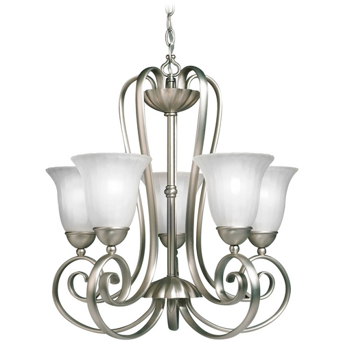 Kichler Lighting Kichler Chandelier with White Glass in Brushed Nickel Finish 1827NI