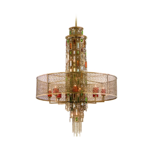Corbett Lighting Drum Pendant Light Brown Tones Cage Shade in Riviera Bronze W/sil 123-715