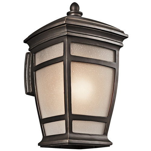 Kichler Lighting Kichler Outdoor Wall Light with White Glass in Rubbed Bronze Finish 49273RZ