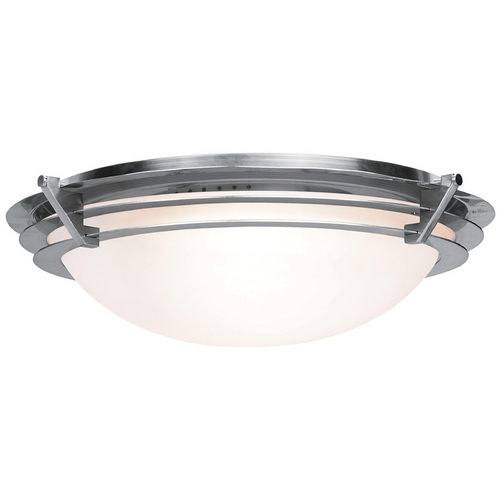 Access Lighting Modern Flushmount Light with White Glass in Brushed Steel Finish 50091-BS/FST