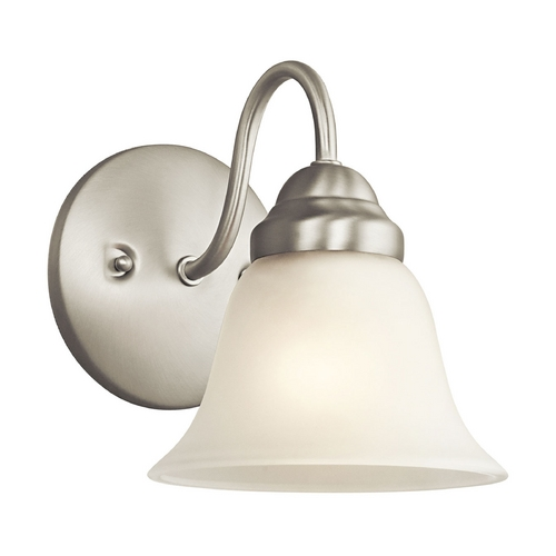 Kichler Lighting Kichler Sconce Wall Light with White Glass in Brushed Nickel Finish 5294NI