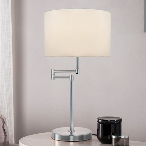 Lite Source Lighting Lite Source Lighting Durango Polished Steel Swing Arm Lamp LS-22215PS/WHT