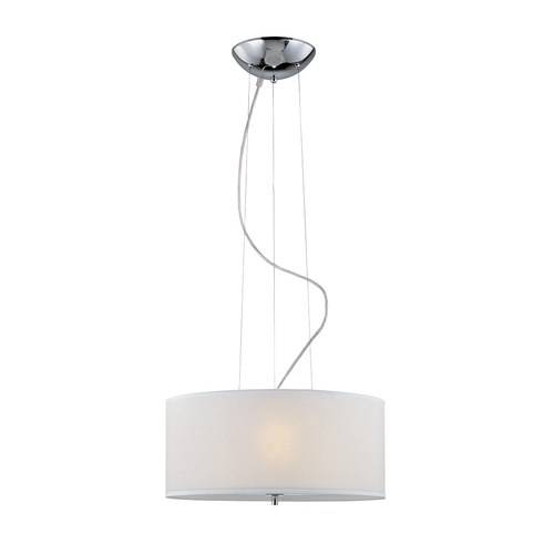 Lite Source Lighting White Drum Shade Pendant LS-19148