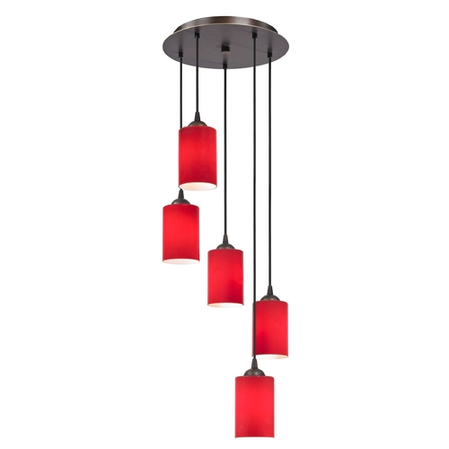 Design Classics Lighting Modern Multi-Light Pendant Light with Red Glass and 5-Lights 580-220 GL1008C