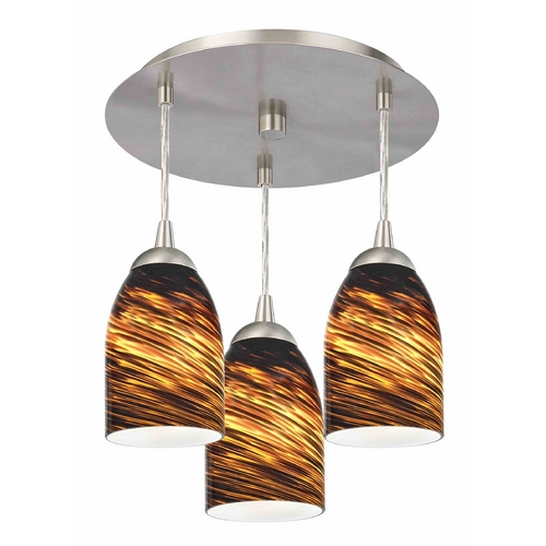 Design Classics Lighting 3-Light Semi-Flush Ceiling Light with Brown Art Glass - Nickel Finish 579-09 GL1023D