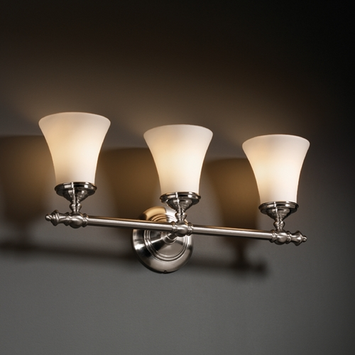 Justice Design Group Justice Design Group Fusion Collection Bathroom Light FSN-8523-20-OPAL-NCKL