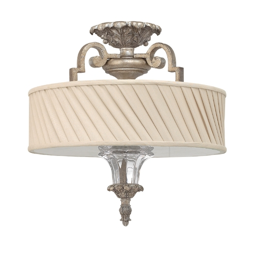 Frederick Ramond Semi-Flushmount Light with Beige / Cream Shade in Silver Leaf Finish FR42721SLF