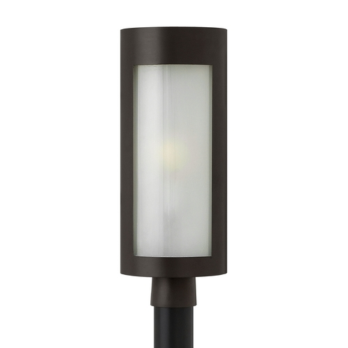 Hinkley Lighting Modern Post Light with White Glass in Bronze Finish 2021BZ