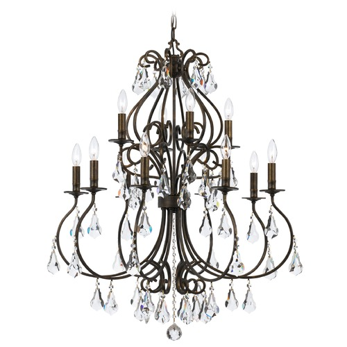 Crystorama Lighting Crystorama Ashton 2-Tier 12-Light Crystal Chandelier in English Bronze 5017-EB-CL-MWP