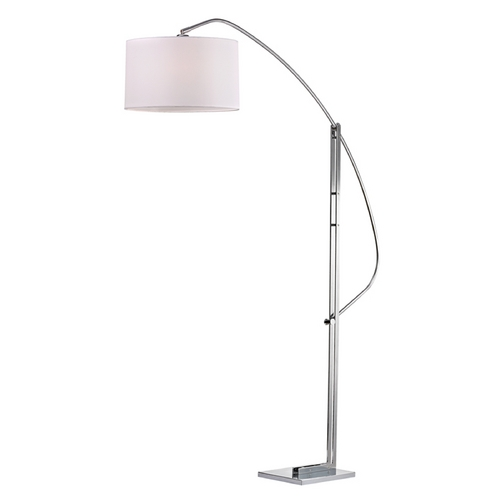 Dimond Lighting Modern Arc Lamp with White Shade in Polished Nickel Finish D2471