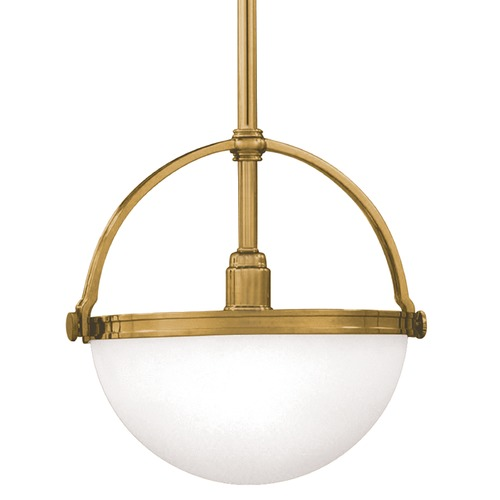 Hudson Valley Lighting Hudson Valley Lighting Stratford Aged Brass Pendant Light with Bowl / Dome Shade 3312-AGB
